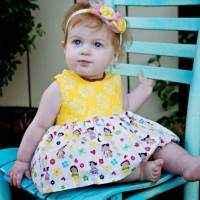 Sleeveless Kokeshi Baby Girl Dress Bloomer Romper