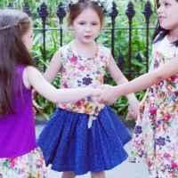 Blue Vienna Toddler Girls Twirl Skirt with Tulle Under Layer