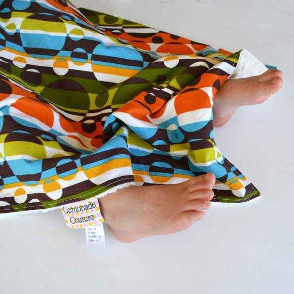 Circle Print Minky Travel Baby Blanket & Oversized Security Blanket (American Made)