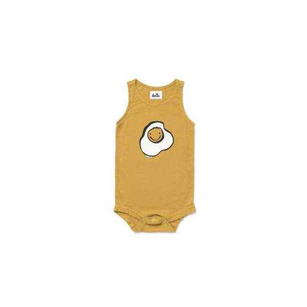 Egg Trendy Sleeveless Baby Boy and Girl Bodysuit (American Made and Organic Cotton)