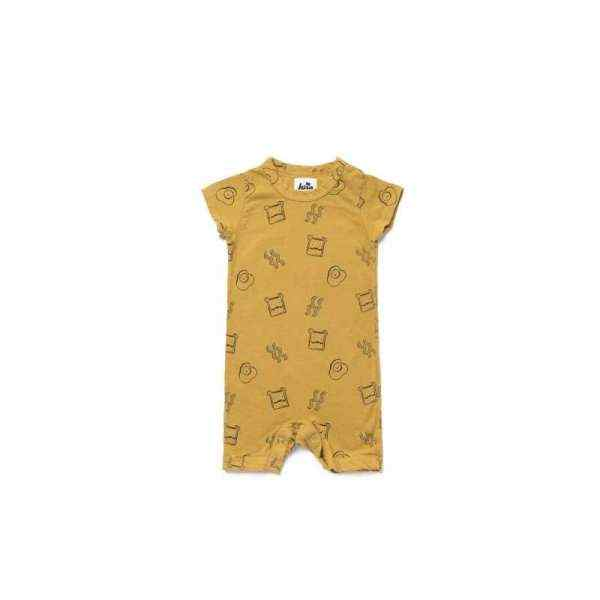 Brunch Print Short Sleeve Baby Romper and One Piece Pajamas (American Made and Organic Cotton)