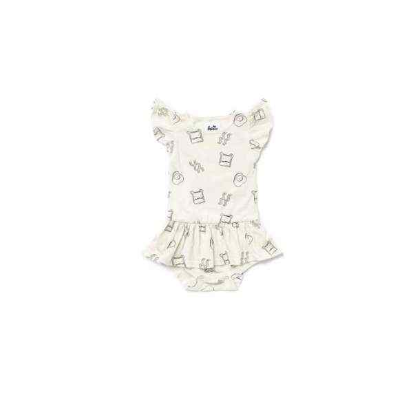 Brunch Print Flutter Sleeve Baby Girl Dress (American Made & Organic Cotton)