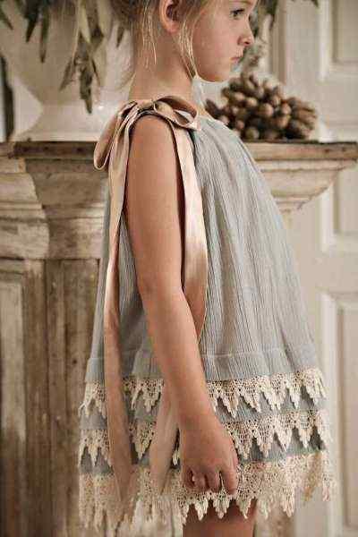 Blue Lottie Sleeveless Little Girls Dress (American Made)