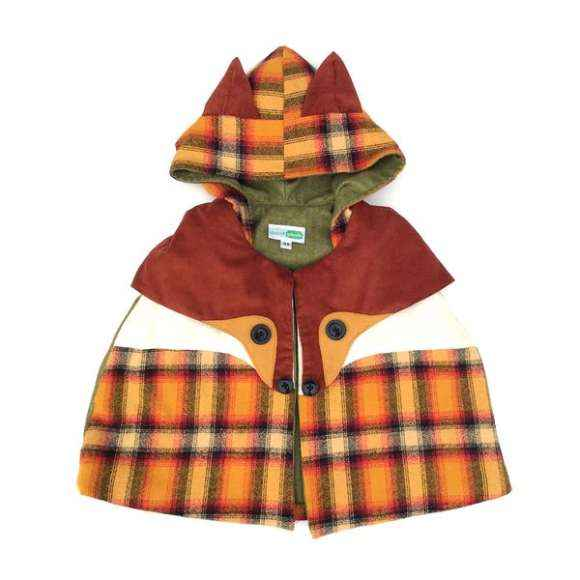 Fox Little Kids Fun Retro Hooded Cape (American Made)