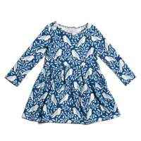 Blue Bird Print Long Sleeve Toddler Girls Boutique Dress (American Made and Organic Cotton)