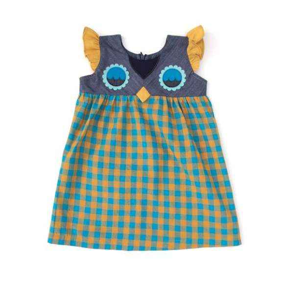 Owl Flutter Sleeve Retro Little Girls Dress (American Made)