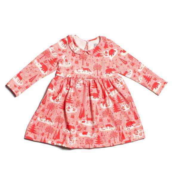 Winter Wonderland Long Sleeve Little Girls Dress (American Made and Organic Cotton)
