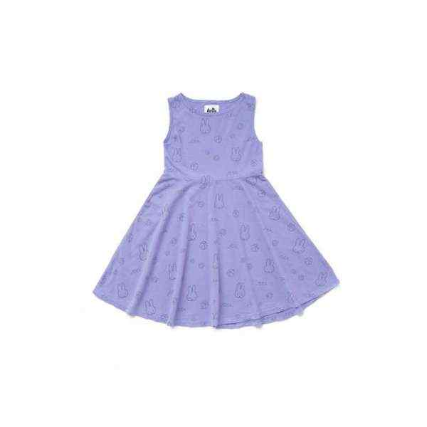 Miffy Bunny Print Sleeveless Toddler Girls Dress (American Made and Organic Cotton)