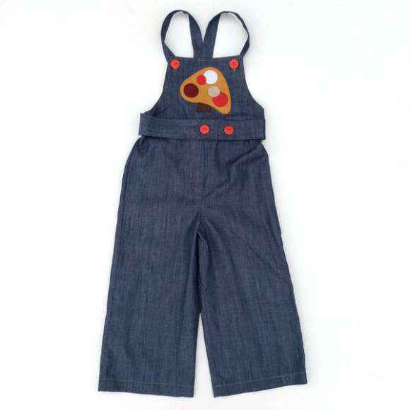 Oliver Little Kids Overalls with Retro Mushroom Felt Applique (American Made)