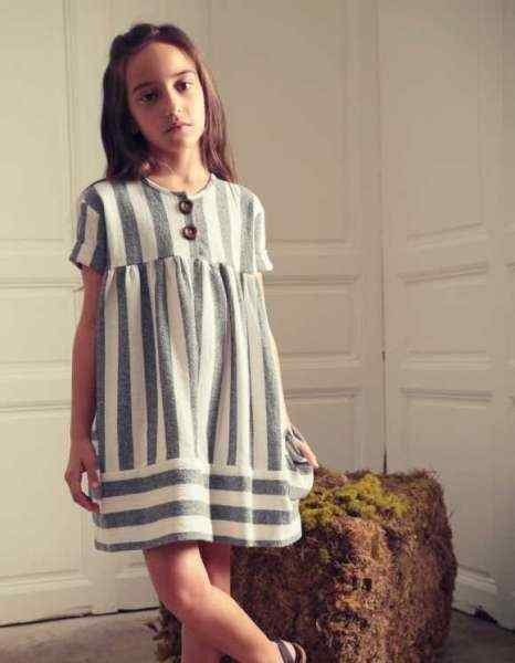 Gilda Short Sleeve Striped Little Girls Dress (American Made)