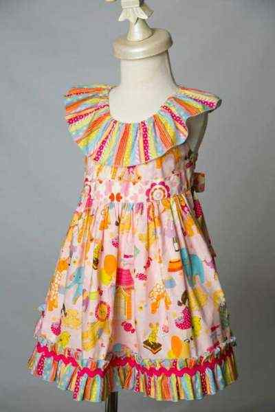 Antique Toy Shop Shabby Chic Sleeveless Little Girls Dress (American Made)