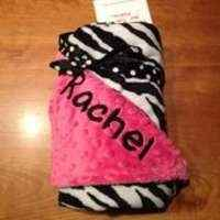 Minky Baby Blanket - Hot Pink Zebra - Personalized name available