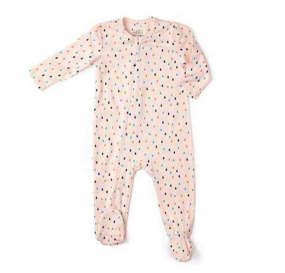 Modal Raindrop Print Long Sleeve Baby Girl Footie Romper and One Piece Pajamas