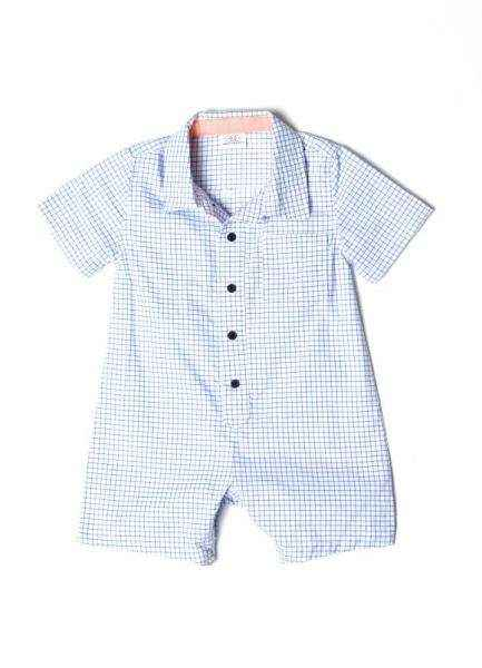 Blue Checked Short Sleeve Button Down Baby Boy Romper