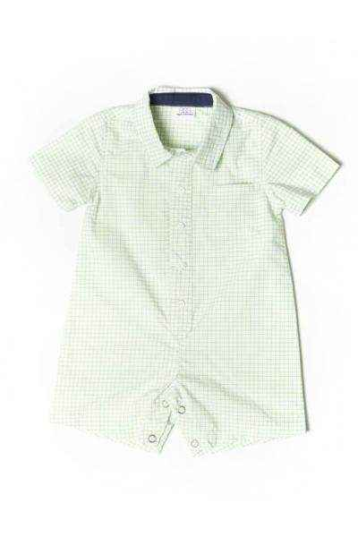 Green Checked Short Sleeve Button Down Baby Boy Romper