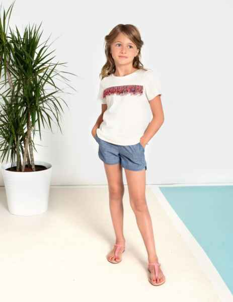 Indigo Chambray Girls Cali Pocket Shorts