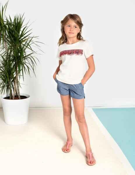 Chambray Girls Trendy Modern Cali Shorts (American Made)