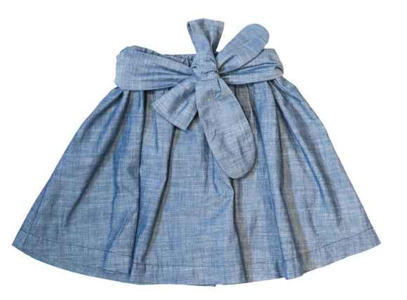 Island Sash Chambray Little Girls Skirt (American Made)