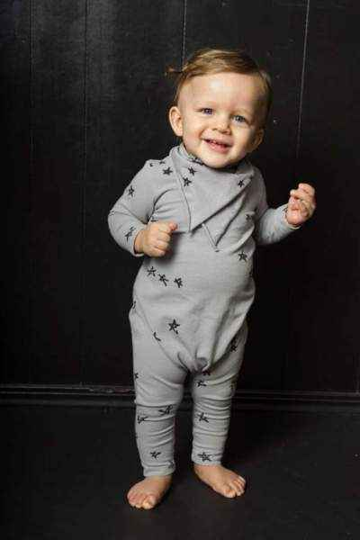 Star Print Long Sleeve Snap Free Baby Jumpsuit and Pajamas (American Made)