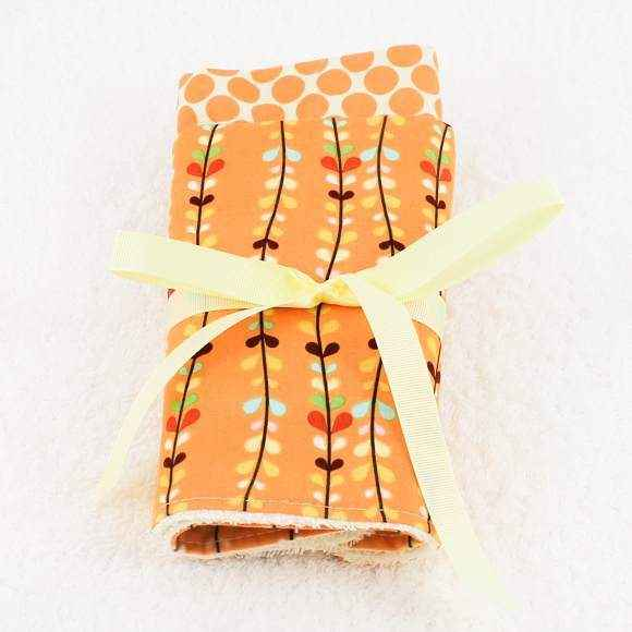 Orange Dots and Vines Baby Burp Cloth Gift Set (American Made)
