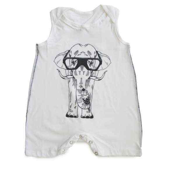 Ice Cream Elephant Sleeveless Baby Romper (Organic Cotton)