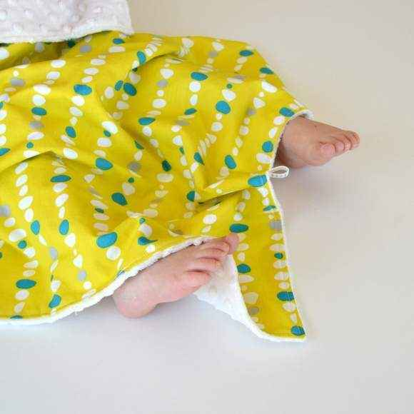 Pebble Print Organic Cotton and Minky Travel Baby Blanket and Oversized Security Blanket (American Made and Organic Cotton)