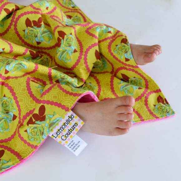 Roses Ultra Soft Minky Travel Baby Girl Blanket (American Made)