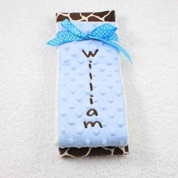 Light Blue Giraffe Minky Baby Boy Burp Cloth Set (American Made) (Available Personalized)
