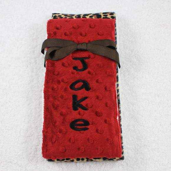 Red Cheetah Minky Baby Burp Cloth Set Available Personalized (American Made)