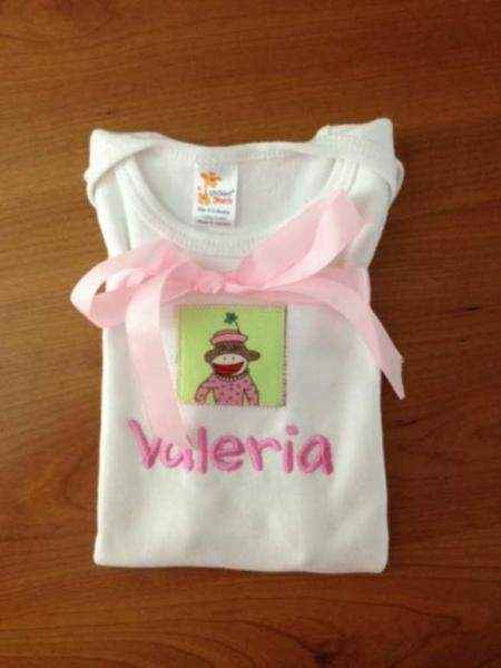 Personalized Pink Dress Sock Monkey Baby Girl Short Sleeve Bodysuit