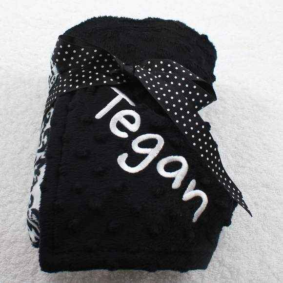 Black Damask Super Soft Minky Baby Boutique Blanket Available Personalized (American Made)