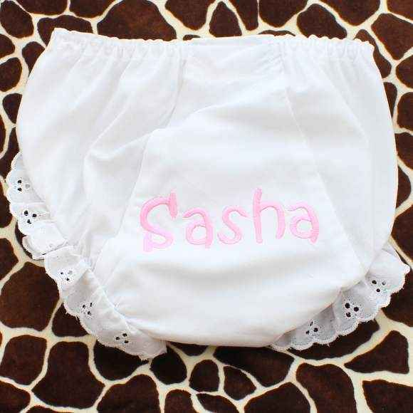 Personalized White Eyelet Trim Boutique Baby and Girls Bloomers and Diaper Cover (American Made)