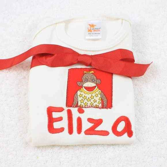 Personalized Girl Sock Monkey Baby Girl Short Sleeve Bodysuit