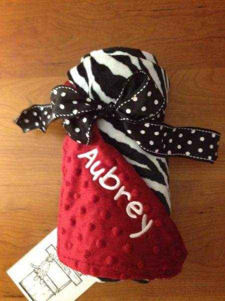 Red Zebra Minky Baby Blanket (American Made) (Available Personalized)