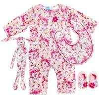 Farah Floral Set with Jumpsuit, Bib, Baby Booties, and Bunny Toy