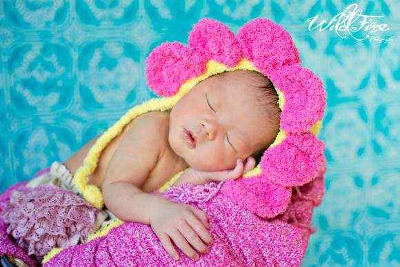 Newborn Baby Girl Soft Crocheted Flower Hat (American Made)