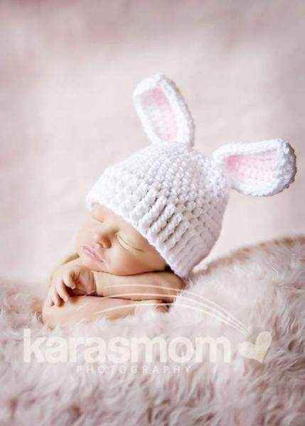 Newborn Baby Bunny Ear Crocheted Hat (American Made)