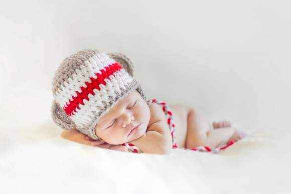 Newborn Baby Sock Monkey Hat