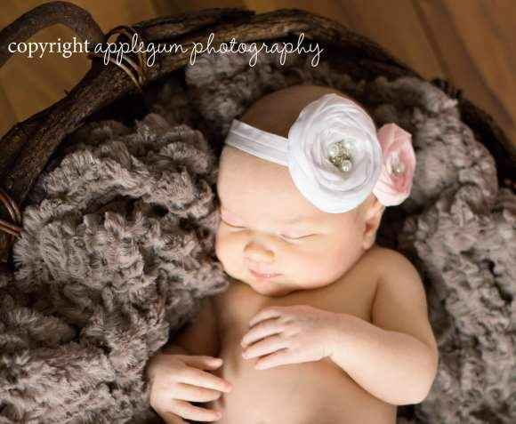 Charlotte Baby Girl Antique Style Flower Headband (American Made)