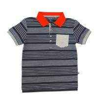 Navy Striped Older Boys Polo Shirt