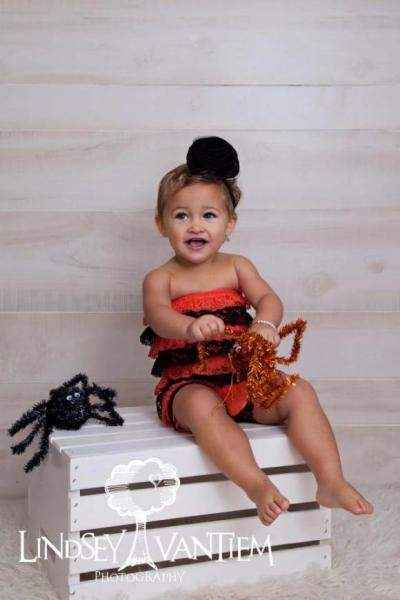 Halloween Little Girls Lace Ruffle Petti Romper