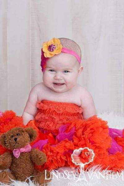 Orange Baby Girl Lace Ruffle Petti Romper