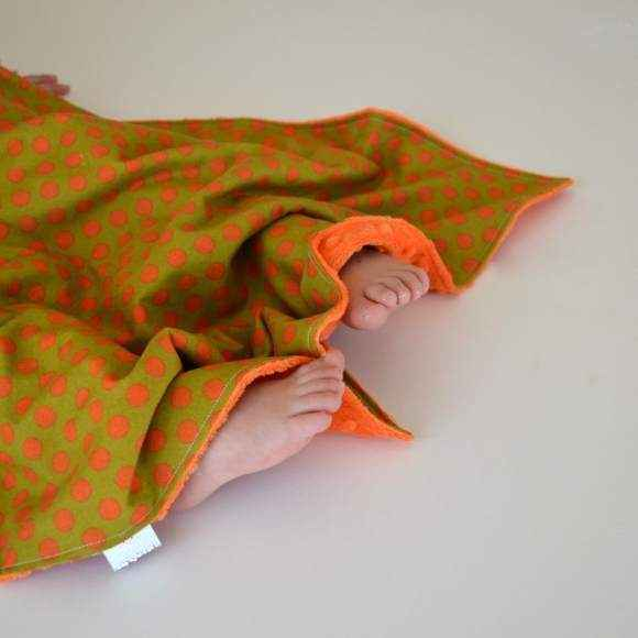 Orange Dot Minky Travel Baby Blanket and Oversized Security Blanket (American Made)