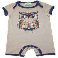 Gray Owl Modern Baby and Toddler Boy Short-sleeved Romper Outfit - in Bamboo and Organic Cotton