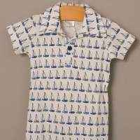 Sailboat Print Organic Cotton Short Sleeve Polo Baby Boy Romper