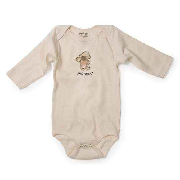 Monkey Long Sleeve Baby Bodysuit (Organic Cotton)
