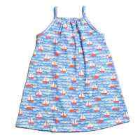 Organic Cotton Spaghetti Strap Sailboat Print Little Girls Dress (American Made)