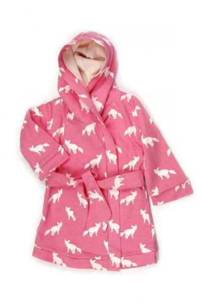 Pink Fox Print Baby and Little Girls Hooded Bathrobe (Organic Cotton)
