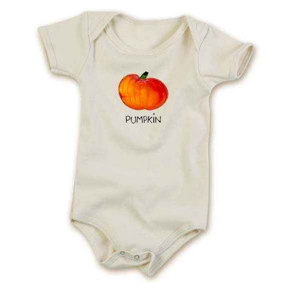 Pumpkin Short Sleeve Baby Bodysuit (Organic Cotton)