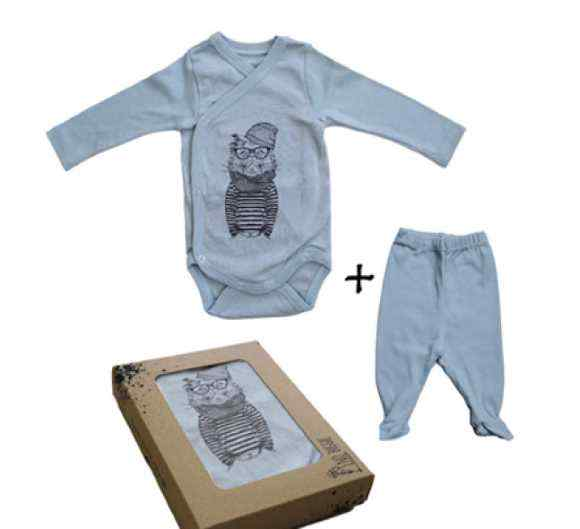 Cool Cat Baby Boy Outfit Gift Set with Long Sleeve Bodysuit and Footed Pants (Organic Cotton)